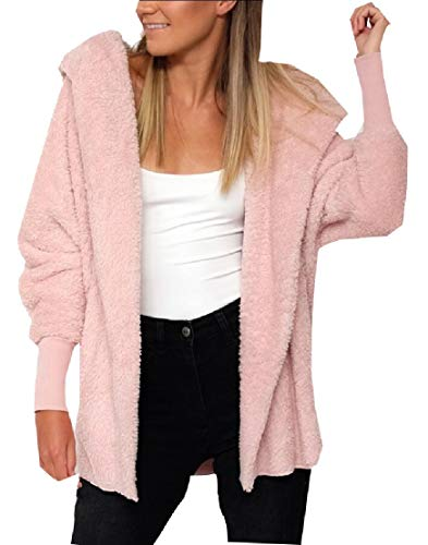 Coat EKU Outerwear Hooded Long Cardigan Winter Women's Sleeve Pink Soft Warm w7OC7xRYq