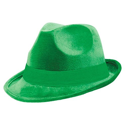 Suede-Like Finish Velour Fedora Hat with Matching Color Hatband Costume Party Headwear, Green, Fabric, 5