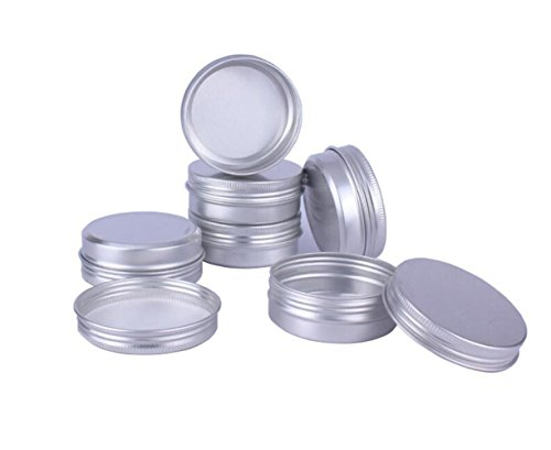 12PCS 60ML/Gram 2oz Silver Aluminum Cosmetic Sample Packing Tins Cases with Screw Lids Round Storage Jar Containers for Lip Balm DIY Salves Candles Eye Shadow Powder and Tea
