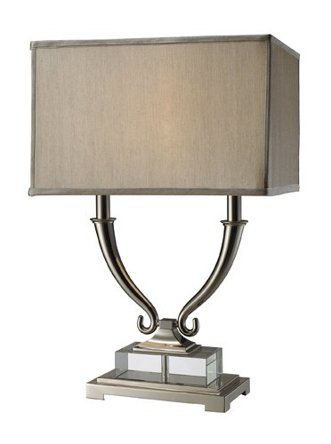 Dimond D1873 Roberts 2 Light Table Lamp in with Light Grey Faux Silk Shade, 17