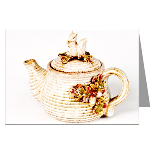 Vintage Teapot with Squirrel Greeting Card Set