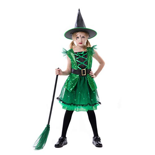 RJ Legend Green Witch Costume - Kids Halloween Green Dress Up Cosplay Witch for Little Girls, Small