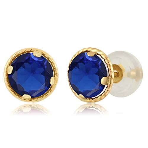1.20 Ct Round 5mm Blue Simulated Sapphire 14K Yellow Gold Stud Earrings Yellow Gold Blue Sapphire Earrings