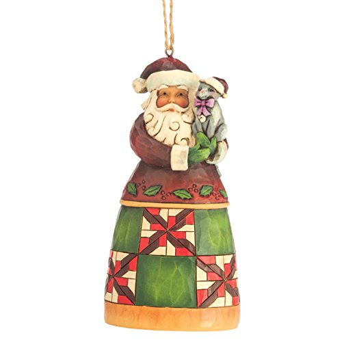 Jim Shore for Enesco Heartwood Creek Santa with Cat Ornament, (Heartwood Creek Cats)