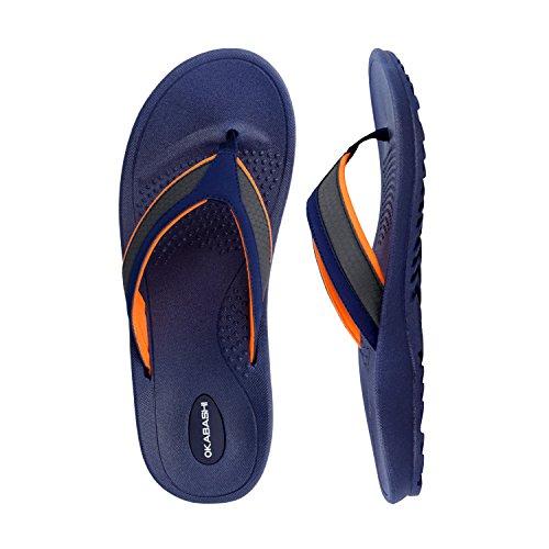 Sandal Okabashi Indigo Navy Flip Shoes Classic Canvas Flop Orange Men's 7qgxqwO4