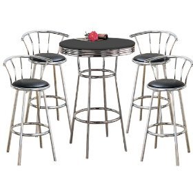 MAN CAVE Metal Bar Table Pub Set with 4 Swivel Seat Bar Stools with Back