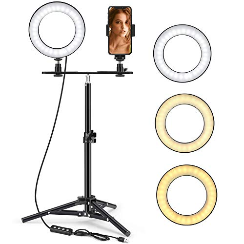 Ring Light, Foxin 6' Mini Selfie Ring Light with Tripod Stand & Phone Holder for Live Stream/Makeup, Small Desktop Camera Led Ring Light for YouTube Video/Photography Compatible with iPhone Android