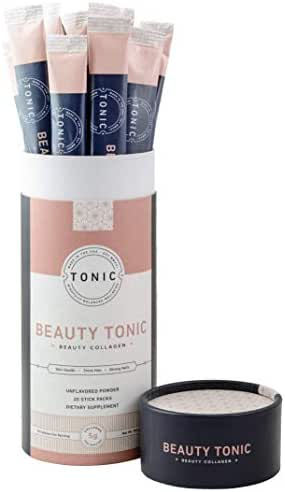 TONIC: Beauty Collagen Powder & Paleo + Keto Collagen, Dietary Collagen Supplement for Healthy Skin, Nails & Hair, Anti Cellulite & Stretch Marks, Bulletproof Collagen, Unflavored, 20 Servings