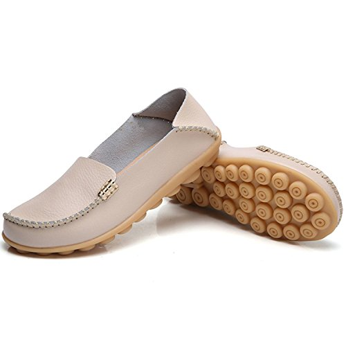 TIOSEBON Womens Comfort Walking Flat Loafer Casual Slipper Moccasin Driving Shoes Flat Slip-on Xxh996 Beige MCjH4pZR