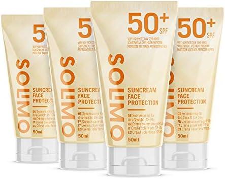Marca Amazon - Solimo - SUN - Crema solar facial FPS 50+, con vitamin E, antioxidante (4x50 ml)