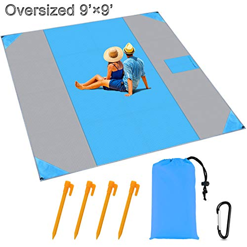 BROTOU Sand Proof Beach Blanket Oversized 9' x 9' Compact Pocket Ground Cover Beach Mat for 7 Adults Outdoor Camping Hiking Travel Festival Sports Picnic Mat Waterproof Ground Cover Tarp