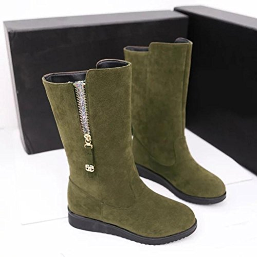 Euone Fashion Dames Dameslaarzen Plat Winter Warm Sneeuwschoenen Legergroen