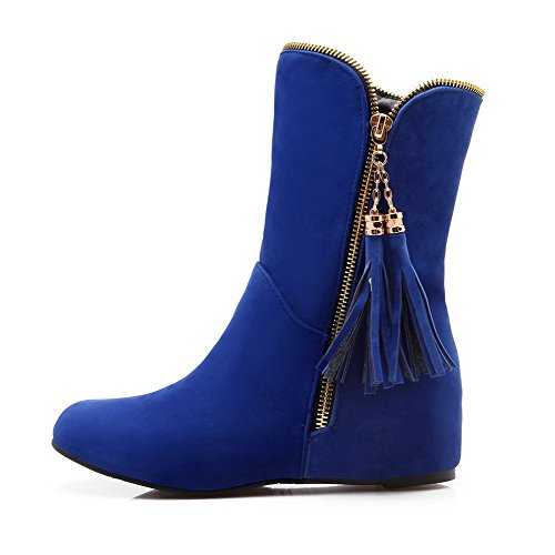Low Allhqfashion Heels Low Boots Women's top Zipper Solid Frosted Blue 6rrq5pxw