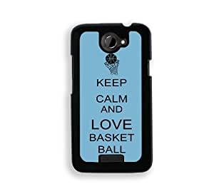 Keep Calm And Love Basketball - Aqua - Protective Designer BLACK Case - Fits HTC One X / One X+