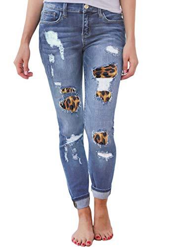 GOSOPIN Women Leopard Print Destroyed Ripped Skinny Distressed Denim Jeans Small Sky Blue