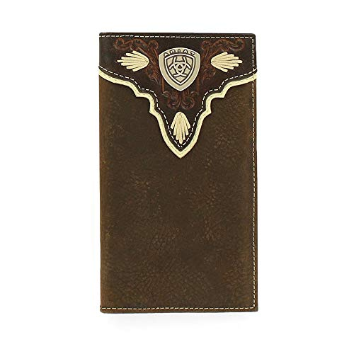 (Ariat Men's Dark Distressed Trim Shield Rodeo Western Wallet, Brown, One)