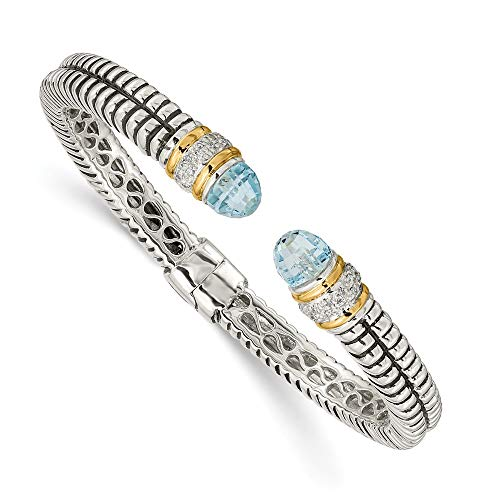 IceCarats 925 Sterling Silver 14k Sky Blue Topaz Diamond Cuff Bracelet Gemstone Bangle Hinged by ICE CARATS (Image #8)
