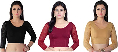 2f1d2ab6be84f Fressia Fabrics Women s Stretchable Readymade Saree Blouse Crop Top Choli  Pack of 3