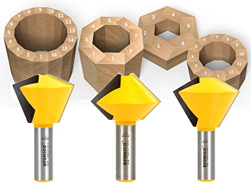 Yonico 15330 Multi Sided Glue Joint Router Bit Set 1/2-Inch Shank