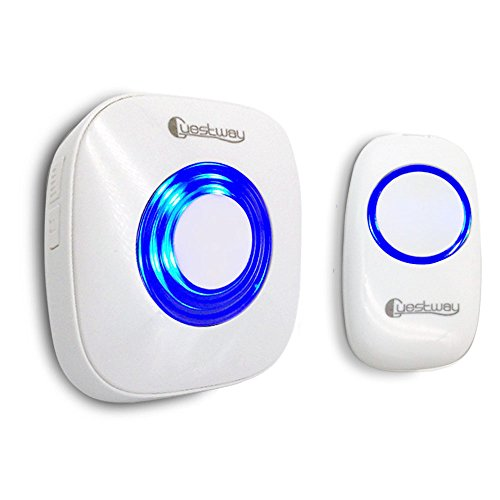 Portable Wireless Doorbell Ring Pager Push Button Remote Ring Bell Loud for Hearing Impaired Home Door Chime 1000ft Long Range Distance 52 Chord Music White by Guestway