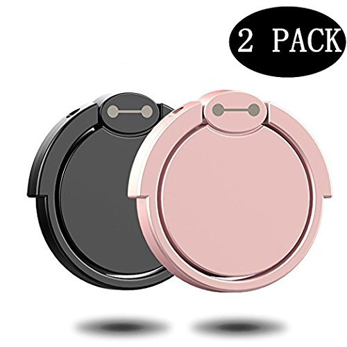 Spindle Bedroom ([2 Pack] Finger Ring Stand, 360° Rotary Cell Phone Holder Finger Loop Grip Mount Universal Smartphone Kickstand Compatible iPhone 6/6s Plus, iPhone 7/7 Plus, Samsung Galaxy S8/S8 -Black+ Rose Gold)