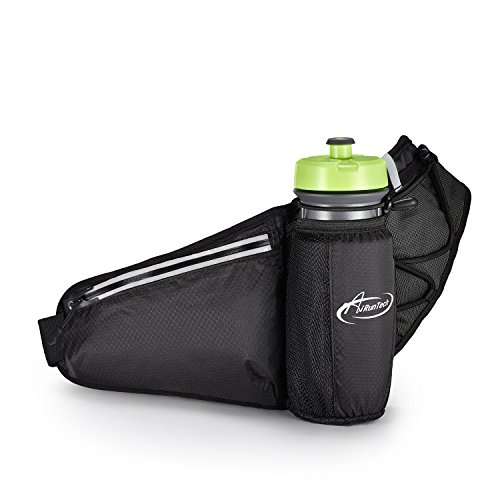 Fanny Pack AiRunTech Waist Pack with Water Bottle Holder Water Resistant Running Belt Fits iPhone 7/6S Plus Galaxy S6 S7 Note 6/7 Reflective Water Bottle Pack for Running Hiking Travel Activities