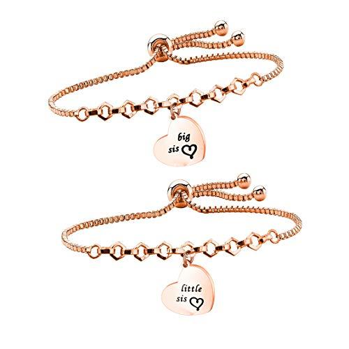 QIIER Big Sis Lil Sis Bracelets Set for 2 Sisters Adjustable Link Bracelets (Rose Gold) ()