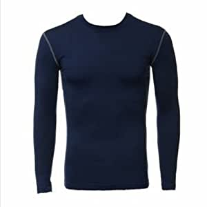(Size: XL / Color: Navy) Sports Cycling Compression Thermal Base Layer Under Shirt