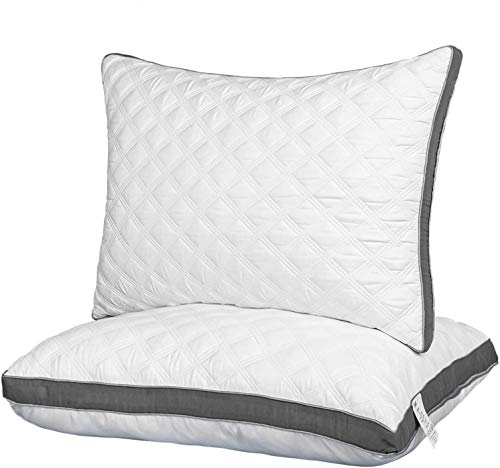 Lipo Premium Quilted Bed Pillows, Set of 2 Luxurious Down Alternative Pillows for Sleeping with Grey Side, for Side and…