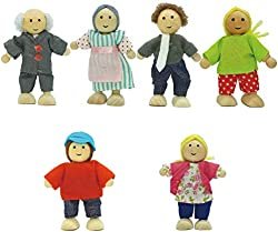 related image of Toydaze Wooden Dollhouse People |Wood Dolls Family