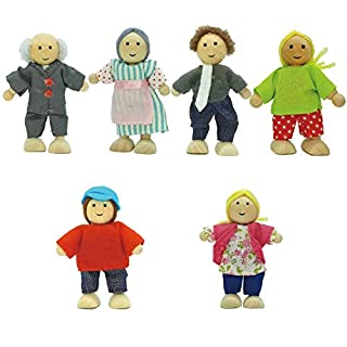 Toydaze Wooden Dollhouse People  Wood Dolls Family with Bendable Arms and Legs, 6-Pack Dollhouse Characters for Pretend Play, Miniature Doll House Doll Figures for Ages 3 and Up Girls, Boys, Kids