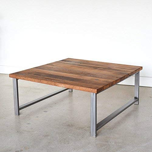 Amazon Com Square Reclaimed Wood Coffee Table With H Shaped Metal
