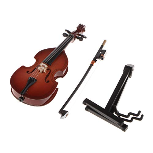 kesoto 1 Set Wood Double Bass Miniature Cello Model Figure Gift for Friends Kids Students - 12cm 4.72inch ()