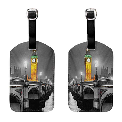 Luggage ID Tags - 2-pack London,The Big Ben and the Westminster Bridge at Night in UK Street River European Look,Grey Yellow Suitcase ID Tag (Best Rated European River Cruises)