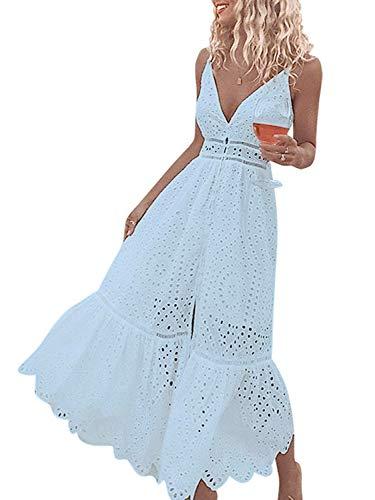 (SUNJIN ARCO Women's Summer Hollow Out Spaghetti Strap Deep V Neck Button Down Beach Maxi Dress(Blue,S))