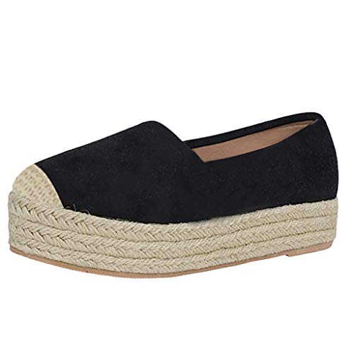 〓COOlCCI〓Women Loafers & Slip-Ons,Casual Espadrilles Loafers Flats Shoes Breathable Slip-on Canvas Sneaker Single Shoes Black