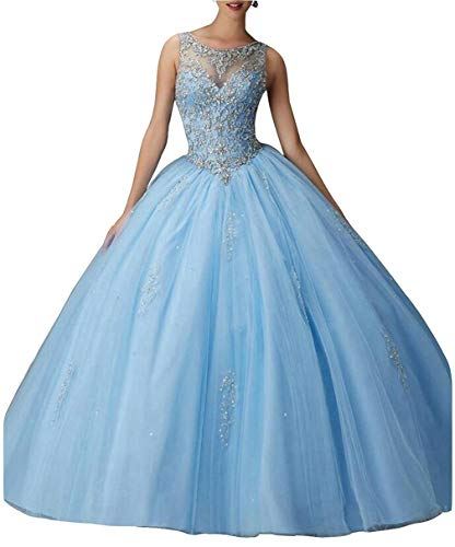 (Beilite Women's Beaded Ball Gown Quinceanera Dress Tulle Long Appliques Prom Gown Sky Blue)