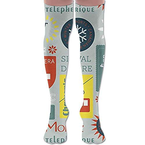 Snow Retro Ski Badges Compression Socks For Men & Women - Best Graduated Athletic Fit For Running,Nurses,Shin Splints,Flight Travel & Maternity Pregnancy - Boost Stamina,Circulation & Recovery