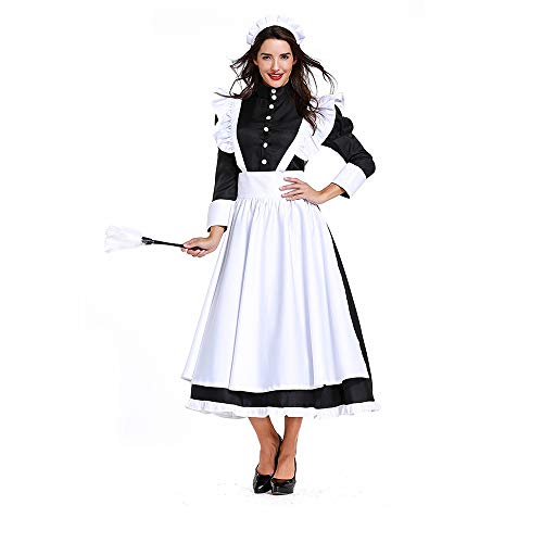 Women Victorian Maid Dress Pilgrim Pioneer Costume Colonial with Apron (Best Maid Salad Dressing)