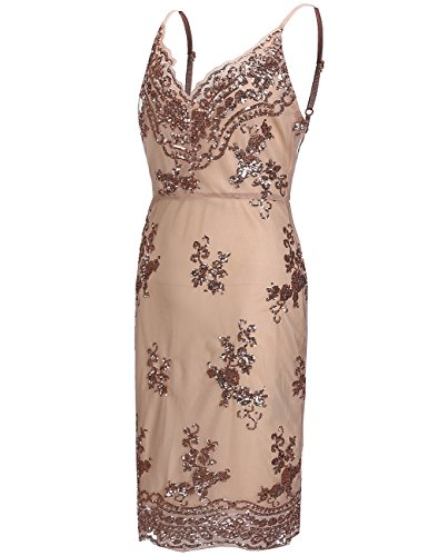 Bocaoying Women's Sexy Deep V Neck Prom Mesh Floral Dress Spaghetti Straps Paillettes Open Back Evening Dress Gold S (Floral Spaghetti Strap Evening Gown)