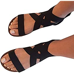 Meilidress Women Summer Fashion Elastic Ankle Strap Open Toe Flat Sandals zipper Shoes Bohemian Sandals,Black,9 B(M) US