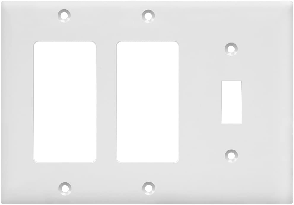 "ENERLITES Combination Toggle Light Decorator Switch Wall Plate, Size 3-Gang 4.50"" x 6.38"", Polycarbonate Thermoplastic, 881132-W, White"