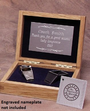 Silver Colored Brass Award Whistle with Safe-T-Tip in a Wooden Gift Box. Made in the USA! by The Acme