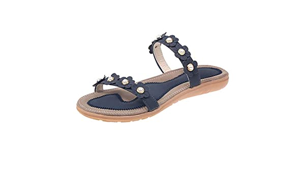 AG&T los Zapatos de Las Mujeres del Verano de la Boca Zapatos de Las Flores Respirables de Las Mujeres Planas de Bohemia Sra cómodas Sandalias Casuales: Amazon.es: Deportes y aire libre