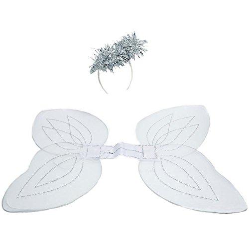 Nylon White Angel Wings And Halo Headband ()