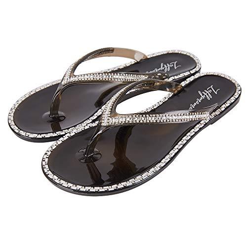 - LUFFYMOMO Women's Rhinestone Flip Flops Beach Flat Thong Sandals(8 M US Black)