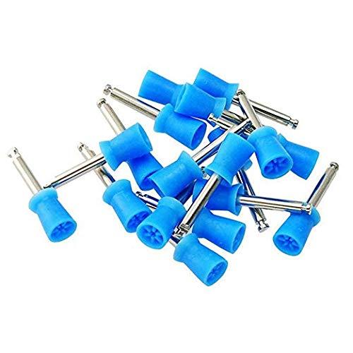 Prophy Brushes - 100 PCS Polishing Polish Cup Brush 4 Webbed White Color Latch Type Cup Brush (Blue)