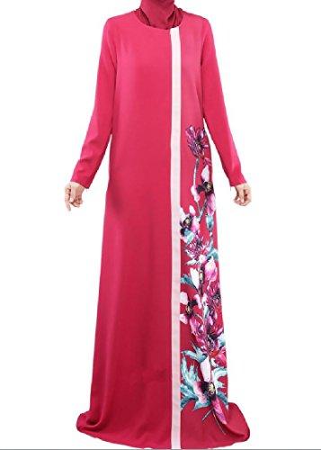 Confortables Femmes Imprimées Conservatisme Coutures Solides Musulman Maxi Rouge Robe De Plage