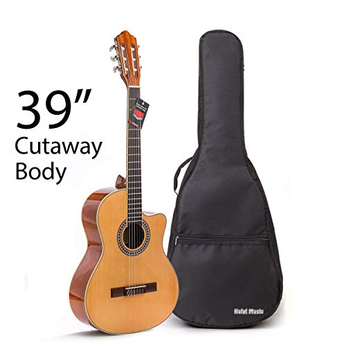 Cutaway Classical Guitar with Savarez Nylon Strings by Hola! Music, Full Size 39 Inch Model HG-39C, Natural Gloss Finish – FREE Padded Gig Bag Included