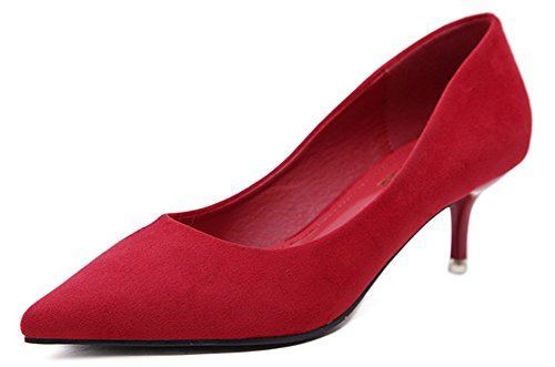 Simple Stable Dame Pointu Bout Talon Escarpins Rouge 5cm Aisun Bureau Femme g5pqBB